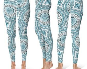 Print Leggings Yoga Pants, Ocean Mandala Yoga Tights for Women, Blue and Gray Pattern