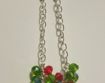 Red and green dangle Christmas earrings, Red and green Christmas jewelry