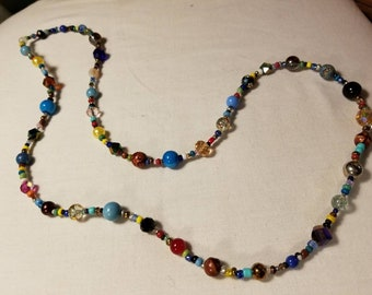 """Multi colored glass bead necklace 30"""""""