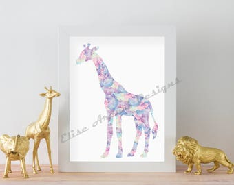 Pink Watercolor Giraffe Nursery Print