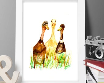 Buy 2 get 1 free  Runner ducks goose painting,watercolor painting,large signed painting,animal paitning,animal art, gift,buy 2 get 1 free