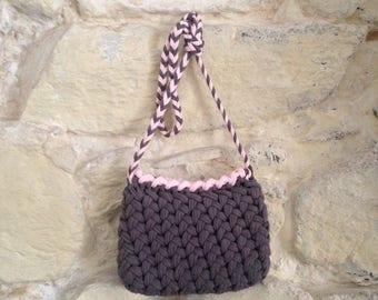 Grey crochet handbag
