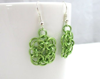 Lime Green Helm Chainmaille Flower Earrings - Ready to Ship!