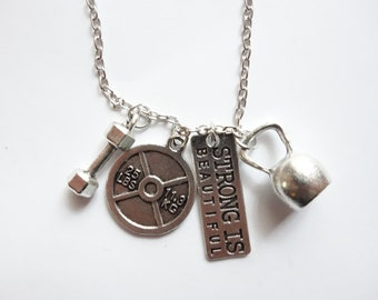 STRONG IS BEAUTIFUL Motivational Fitness Necklace / Gym / Workout / Crossfit Silver - Jewellery Jewelry