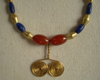 Handmade necklace based on Sumerian examples/ Afghan lapis, carnelian, gold-washed beads