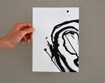 Original abstract art ink drawing, Black and white, modern, minimal, ink dark, movement, minimalist, circular, art ink by Cristina Ripper