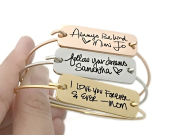 Actual Handwriting Personalized Plate Bangle - Personalized Bracelet - Signature Jewelry - Handwritten Note Keepsake - Mother's Day - 1123