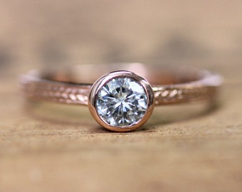 Rose gold moissanite engagement ring, forever brilliant moissanite engagement ring, rose gold solitaire ring, conflict free ring, custom