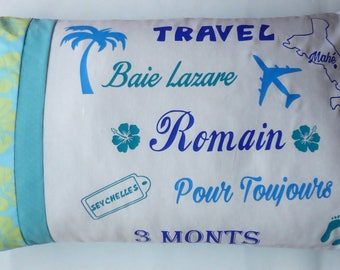 Personalized pillow turquoise with first names, words to choose 65 x 40 cm