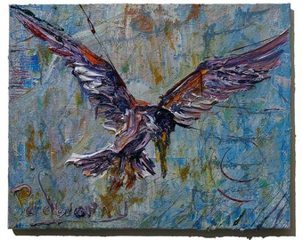 Oil Paint on Gallery Wrapped Stretched Canvas of 16 by 20 by .75 in. / original Oil Painting art bird fly animal wild expressionism nyc