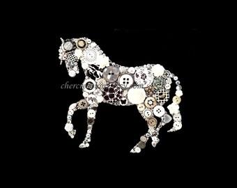 Button Art PRINT 8x10 of orginial Button Artwork, diy, dressage, dressage art, horse,  silver, pinto, black & whitel, Swarovski, made in USA