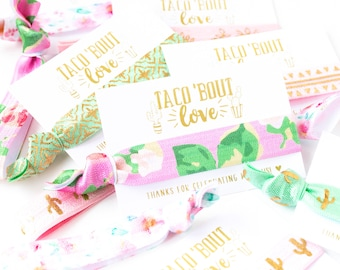 Taco 'Bout Love Baby Shower Favors | Cactus Floral Hair Tie Favors, Baby Shower Hair Tie Favors, Pink Floral Cacti Girl Baby Shower Favors