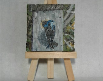 Mini paintings Original Art with Easel oils on Canvas Panel Birds Nest boxes Magnet Tree Swallow