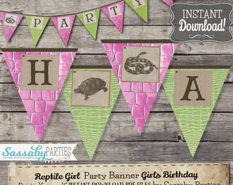 Reptile Girl Party Banner - INSTANT DOWNLOAD - Editable & Printable Snake Birthday Decoration, Decor, Bunting by Sassaby Parties