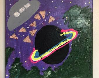Original Medium 12x12 Space Alien Bad Art Acrylic Painting Home Decor