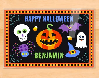 Olive Kids Personalized Halloween Placemat, Kids Placemat, Jack O'Lantern Placemat, Holiday Placemat, Laminated Placemat