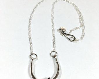 Horseshoe necklace, sterling necklace, maggiesmeltdown, Maggie's Meltdown, horseshoe, necklace, sterling horseshoe