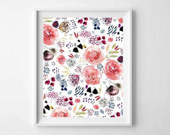 Floral Artwork, Pretty Floral Print, Floral Art Print, Artwork Prints, Nursery Artwork, Floral Print, Floral Wall Art, Floral Nursery Decor
