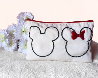 Embroidered Mickey Minnie Pouch, Mickey Minnie Makeup Bag Gift Idea, Disney Pouch, Disney Makeup Bag,Holiday Gift,Toiletry Bag,Gift For Her