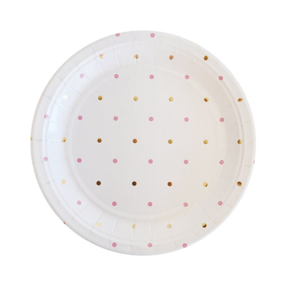 sc 1 st  Etsy & Gold Pink Plates Polka Dot Paper Plates Gold Plates Disposable