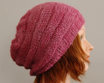 Natural RIAF Soft Warm Hand Crafted Alpaca Slouchy Beanie Hat, Pink Fuchsia