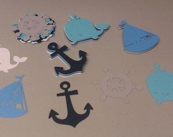 Nautical Cutouts, Anchor, Ship Wheel, Whale, Sail Boat Die Cuts, Nautical Shapes