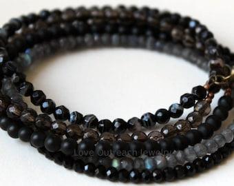 Gemstone Wrap Bracelet, Black Wrap Bracelet, Wounded Warrior Bead Bracelet, Gemstone Bracelet, Black Gemstone Wrap Bracelet, Wounded Warrior