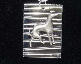 Pewter Greyhound Dog Pendant Silvery Necklace Whippet
