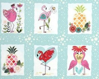 """Let's Flamingle Panel Fabric  ~ By the 17.5"""" Panel ~ Flamingo Fever Collection for Adornit Fabrics"""
