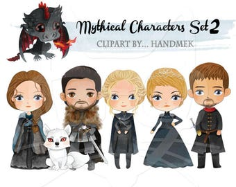 Mythical Characters clipart Set 2, Game of Thrones Inspired clipart Instant Download PNG file - 300 dpi