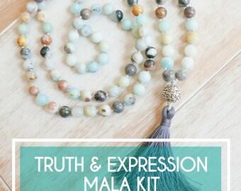 DIY Jewelry Kit - Amazonite Mala Beads Kit/Make your Own Mala Necklace/108 beads/Mala beads/108 Mala/Mala Beads for Sale/How to Make A Mala