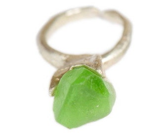 Raw  Green Garnet Ring Primitive Modern