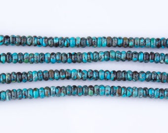 Sale! Turquoise Mixed Color Roundel Beads, Turquoise Bead Strands, Loose Beads, Roundelle, Semi Precious Gemstones, Priced per Strand, TUR03
