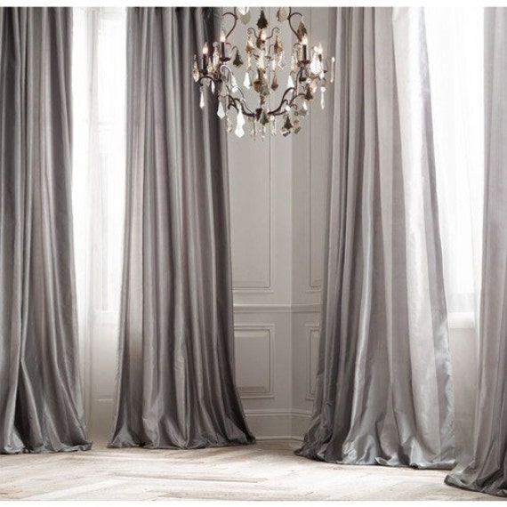 PLATINUM SILK gordijn dupioni zijde grijs zilver window
