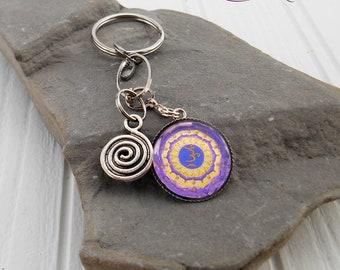Crown Chakra Keychain, Purple Chakra Keyring jewelry, Glass Cabochon, Original Drawing,  Crown Chakra Mandala