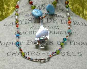 Silver Plate Fork Pendant, with Brightly Coloured Beaded Necklace, vintage upcycled silver plate fork with beaded necklace