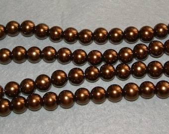 40 glass beads round glass Pearl coffee color 8 X 8 mm.