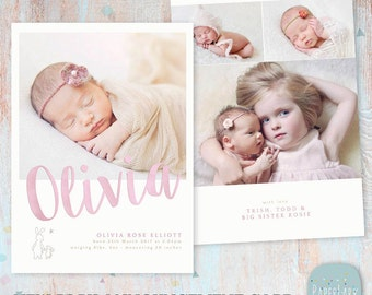 Newborn Baby Card Announcement - Photoshop Card template - AN011 - INSTANT DOWNLOAD