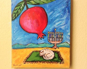 Hanukkah Menorah, a Pomegranate and a Cat Asleep, Original Acrylic Painting, Canvas Art, 8X10 inch, Jewish Artwork, Judaica Art, Chanukkah