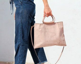 Small leather bag, Pink leather purse with lining and pockets, Crossbody handbag, leather handbag, Everyday handbag, crossbody for women
