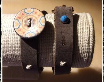 Inspirational Coconut Button Wrap Bracelet- Love