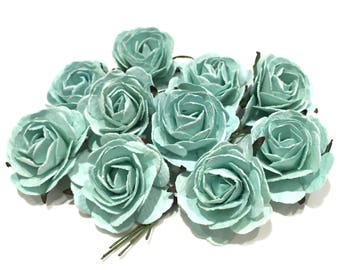 Mint Heritage Mulberry Paper Roses Hr007