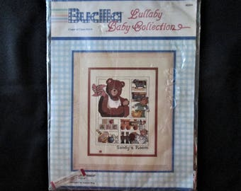 """Vintage Bucilla Lullaby Baby Collection """"Pin-Wheel Teddy"""" Counted Cross Stitch Picture Kit"""