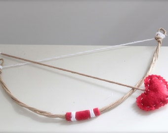 Lil Cupid Red Heart Bow and Arrow Set - Perfect Valentines Day or Sweethearts Boy or Girl Newborn Photo Prop