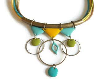 Necklace ethnic brass turquoise and yellow