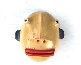 Yellow faced man w/ redlips clay wall sculpture small halfhead