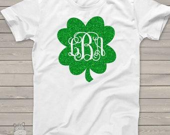 St. Patrick's Day shirt - monogram sparkly glitter shamrock ADULT Tshirt  SNLS-080