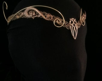 Gold Medieval elven Pagan Viking crown, tiara, circlet, headpiece tiara, celtic Dragon larp
