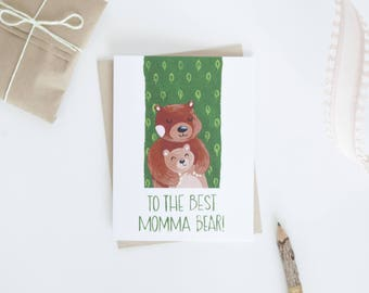 Mama Bear and Baby Bear Mother's Day Card, For Mum, Momma Bear, Illustrated Animal Greeting Cards, Mothers Day Cards