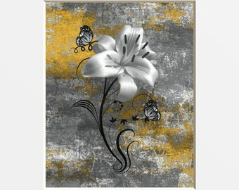 Yellow Gray Rustic Modern Floral Butterflies Wall Decor, Yellow Gray Home Decor Matted Wall Pictures